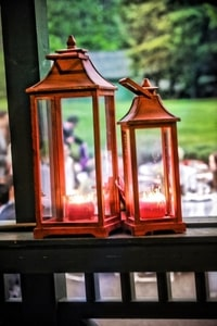 Accessorizing a wedding can include vintage lanterns; Empire Mine State Park, Grass Valley, CA