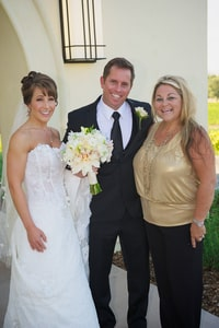 Bride, groom, and wedding planner Darcie