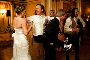 Having fun at the party following the reception; Grand Island Mansion, Walnut Grove, CA