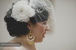 Closeup of bride's hair-net veil