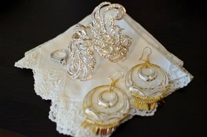 Bride's jewelry and handkerchief for formal wedding; Sacramento Grand Ballroom, Sacramento, CA