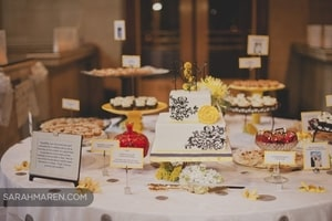 Dessert table shows wedding cake in center