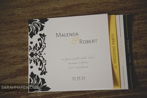 Wedding invitation for this event used the same decoration as the cake, reception table, etc.