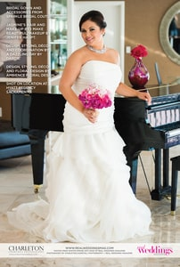 Here's a different bridal gown accented by a bridal bouquet emphasizing pinks and fuscias