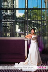 With a cocktail in hand, the model - a real bride - is wearing a bridal gown with train; Hyatt Regency Hotel, Sacramento, CA