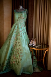 A gown worn by the bride at the party following the wedding ceremony