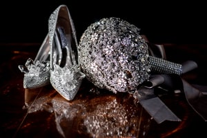 Jeweled shoes and bridal bouquet