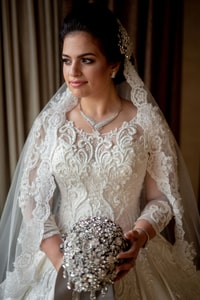Bride in dress and veil