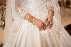 Closeup of jewels on hands and wrists of bride