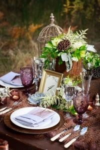 Colors in this place setting are soft and emphasize browns and forest greens