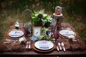 Place settings are crafted to give an organic, natural feel in the forest