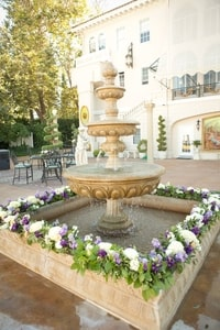 Fountain decorated with purple (it's already golden); Grand Island Mansion, Walnut Grove, CA