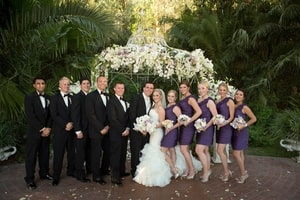 Wedding party in formal pose; Grand Island Mansion, Walnut Grove, CA