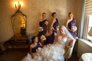 Bride and bridesmaids ready to go to the wedding ceremony