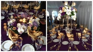 Wedding dinner table setting details: gold cloth napkins, gold-tipped goblets, gold tableware, gold-speckled plates, and gold candleholders all on purple tablecloths