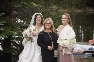 Darcie, the wedding planner, with the bride and her sister; Lake Mary, Sugar Bowl Ski Resort, Norden, CA