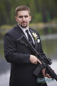 Groom with weapon; Lake Mary, Sugar Bowl Ski Resort, Norden, CA