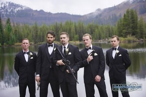 Groom and groomsmen, armed and ready for the wedding; Lake Mary, Sugar Bowl Ski Resort, Norden, CA
