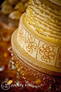 Closeup of 4-tier yellow and gold wedding cake decoration details