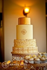 Wedding cake - 4 tiers of gold and yellow
