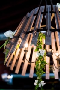 Decorated light fixture at wedding dinner, Urban Chic wedding in Sacramento, CA