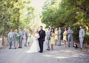 Wedding party photo; country setting; Brookshire Gardens, El Dorado, CA