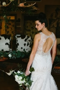 Details of bridal gown from the back
